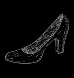 women shoe hand drawn black and white sketch vector image