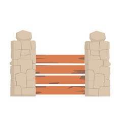 Wooden fence with horizontal planks and stone vector