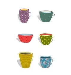 Cups and mugs ceramics colorful fun set vector