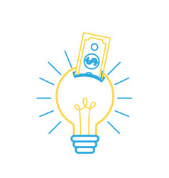 Line bulb idea with bill cash money vector