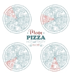 Scetch pizza menu vector image