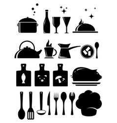 set kitchen tools silhouette vector image