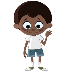 black kid waving vector image vector image