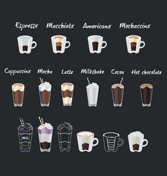 set of coffee menu with a cups of coffee drinks vector image vector image