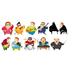 Set of funny fat man music vector