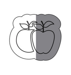 silhouette differents apples icon vector image