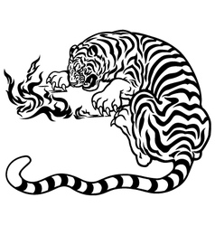 tiger with fire black white vector image