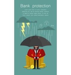 Businessman with umbrella protecting bank saving vector