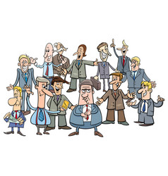 cartoon businessmen or managers group vector image vector image