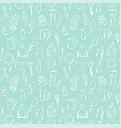 cooking tools seamless pattern background set vector image vector image