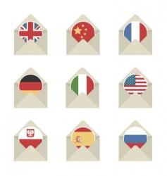 mail flag icons vector image vector image