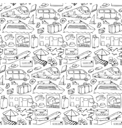 Seamless pattern with travel and transport objects vector image vector image