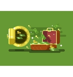 Suitcase and safe with money vector image