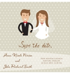 Wedding card with newly wed couple Save the date vector image vector image