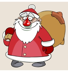 cartoon cute Santa Claus with a bag of gifts vector image vector image