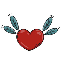 heart feather colored icon vector image