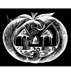 White Halloween scary pumpkin vector image
