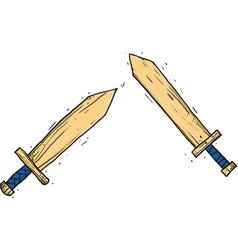 wooden children swords vector image
