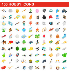 100 hobby icons set isometric 3d style vector