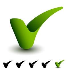 3d green positive checkmark vector image
