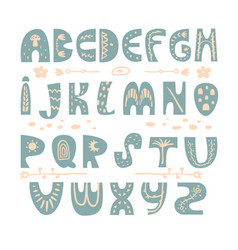 abstract childish hand drawn alphabet scandinavian vector image