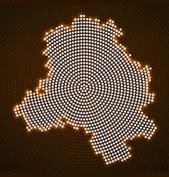 Abstract map delhi glowing radial dots vector