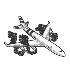 airplane crash sketch engraving vector image