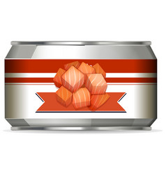 Aluminium can with label design on white vector