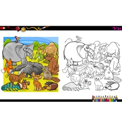 animal group coloring book vector image