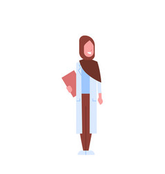 Arab female doctor holding clipboard arabic woman vector