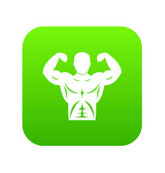 athletic man torso icon digital green vector image