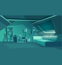 Attic interior at night garret vector