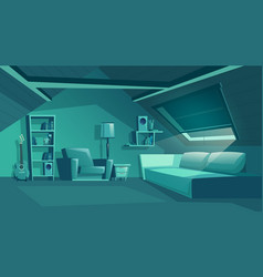attic interior at night garret with vector image