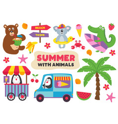 basic rgbsummer with animals part 1 vector image
