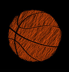 basketball ball - hatched abstract sport logo vector image