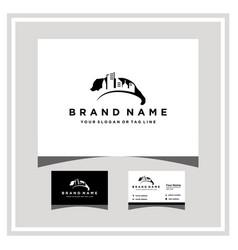 Bear city logo design and business card vector