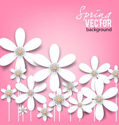 Beautiful background with white spring flowers vector