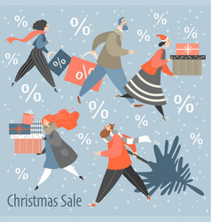 big christmas sale men and women are buying gifts vector image