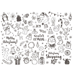 Big set of christmas design element in doodle vector