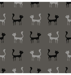 Black Grey Cats Seamless Pattern vector