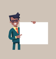 Blackmanager in formal suit holding a blank sheet vector