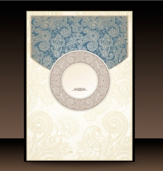 Blue and Gold Paisley Envelope vector image