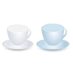 blue and white cup mockups on plate vector image