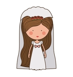 Bride with dress and veil vector