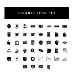 business and finance icon set with black color vector image