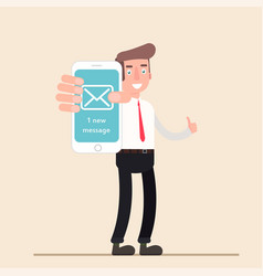 Businessman shows phone message isolated vector