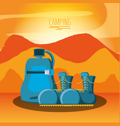 Camping zone with boots and bottle vector