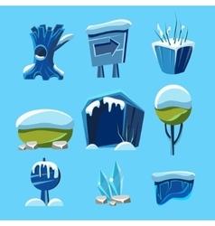 Cartoon winter game nature elements vector