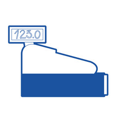cash register icon in blue silhouette vector image
