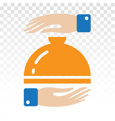 Catering service flat icon with waiter hand vector